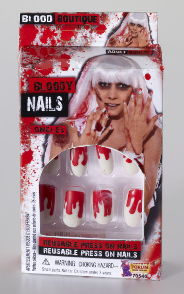 12 Bloody Finger Nails Stick On Scary Halloween Adult Costume Accessory