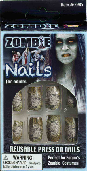 12 Zombie Crackle Nails Reusable Fake Press On Adult Women's Costume Accessory