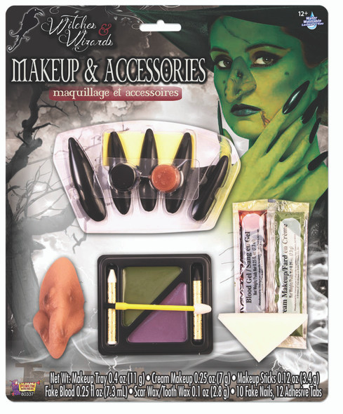 Ugly Witch Makeup & Accessories Kit Nose Makeup Nails Fake Blood Scar Wax