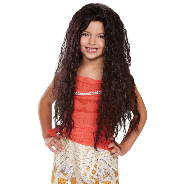 Disney Moana Deluxe Girl Child Wig Long Curly Hair Licensed Costume Accessory
