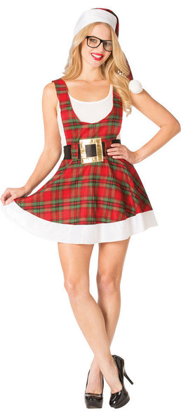 Sexy Hipster Ms. Claus Costume Women's Christmas Plaid Fancy Dress 4-10