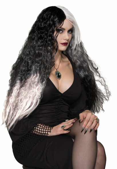 Witches & Wizards Wicked Mist Wig Black White Witch Sorceress Costume Accessory