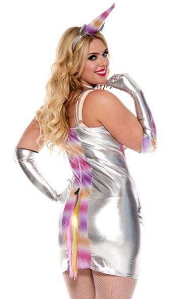 Unicorn Fantasy Club Wear Women's Plus Size Costume Metallic Dress 1/2X-3/4X