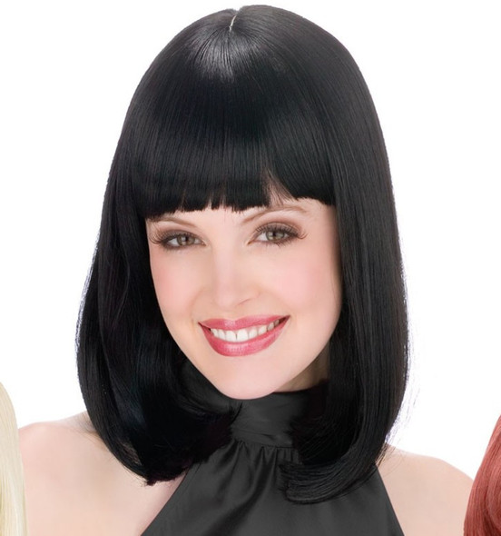 Midnight Black Pageboy Wig Peggy Sue Cleopatra 50s 60s Flip Costume Accessory