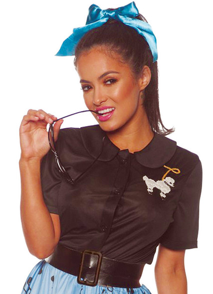 50's Black Poodle Costume Shirt Fancy Dress Retro Soda Shop Womens SM-XXXL