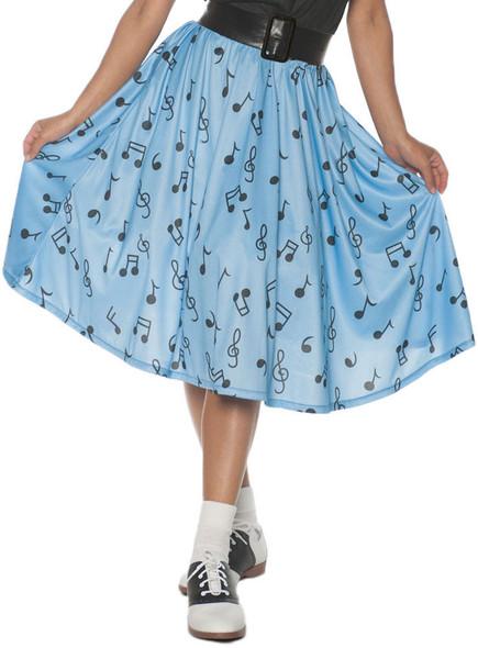 50's Blue Musical Note Costume Skirt Fancy Dress Retro Soda Shop Womens SM-XL