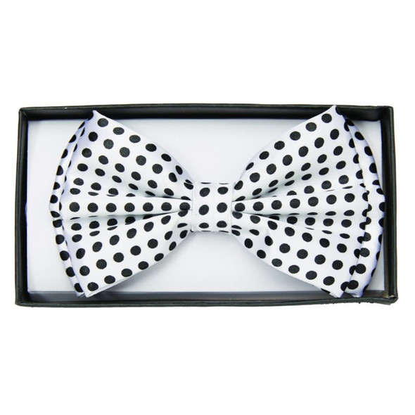 Black and White Polka Dot Bow Tie Adult Costume Accessory Bowtie