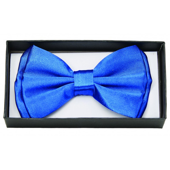 Blue Satin Bow Tie Adult Adjustable Bowtie Tuxedo Costume Accessory