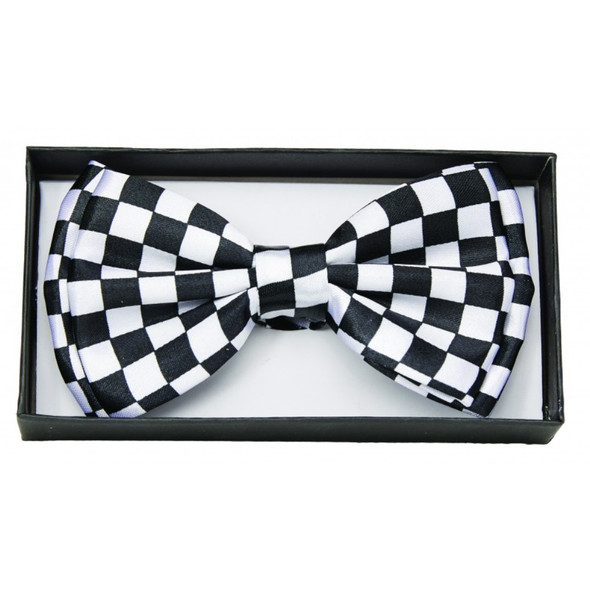 Black and White Checkered Bow Tie Adult Costume Accessory Bowtie