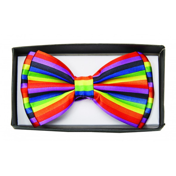 Rainbow Colored Striped Bow Tie Adult Costume Accessory Bowtie LGBTQ Pride