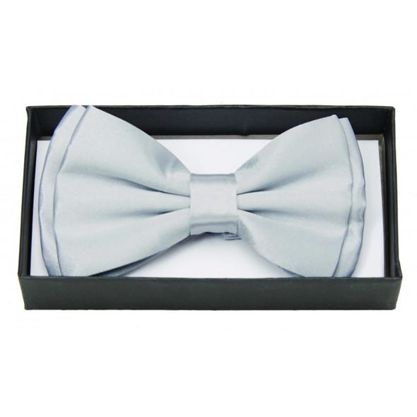 Silver Satin Bow Tie Adult Adjustable Bowtie Tuxedo Costume Accessory