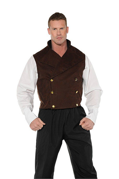 Steampunk Vest Mens Adult Sleeveless Brown Victorian Renaissance Costume Acce.
