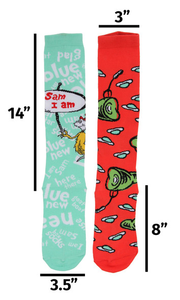 Dr. Seuss Green Eggs & Ham Mismatched Knee High Costume Socks