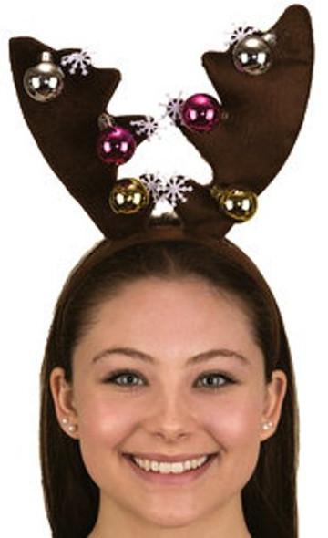 Reindeer Antlers Headband Christmas Snowflakes Rudolph Xmas Costume Accessory