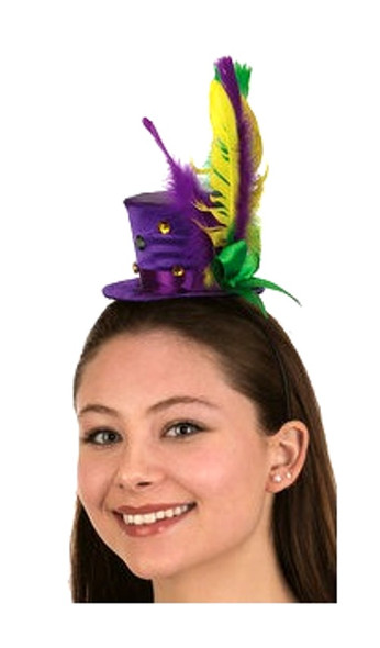 Mardi Gras Mini Top Hat Headband Feathers Ribbons Festival Costume Accessory