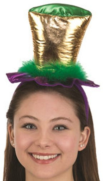 Mardi Gras Mini Top Hat on a Headband Adult Festival Headpiece Costume Accessory