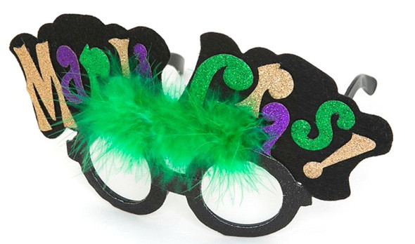Mardi Gras Jester Glasses with green feather marabou Mask Costume Accessory