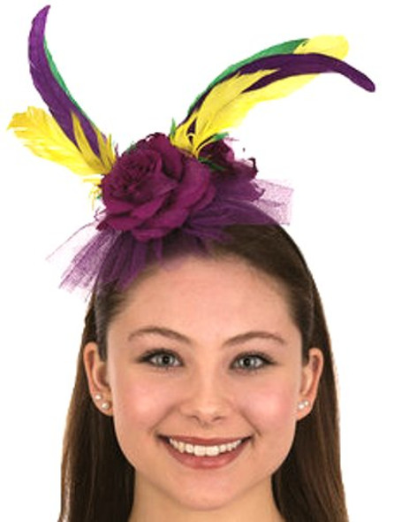 Mardi Gras Headband Hat Feathers Flowers Ribbon Purple Green Yellow Festival