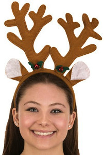 Reindeer Antlers Headband Christmas Bells Brown Rudolph Xmas Costume Accessory