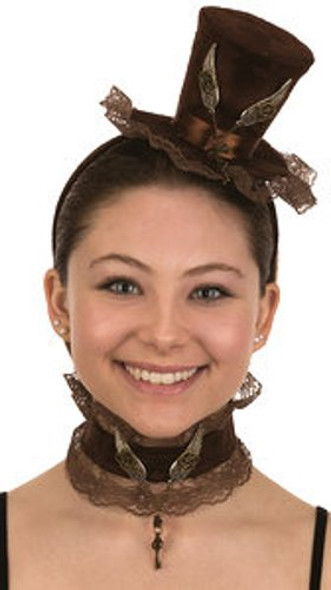 Mini Steampunk Top Hat Headband N' Choker Cocktail Brown Women Costume Accessory