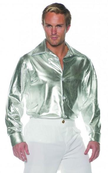 Adult Men's Metallic Silver Disco Dancer Shirt Shiny Button Up 60s 70s STD-XXL