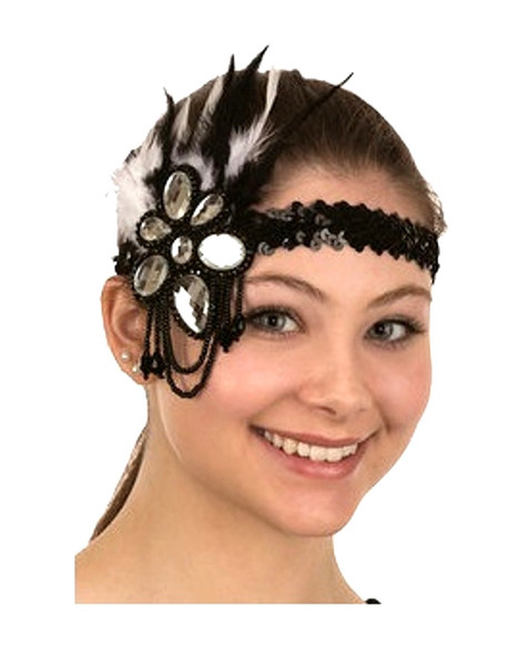 Black Flapper Headband Roaring 20's Adult Costume Prop Feathers Sequins