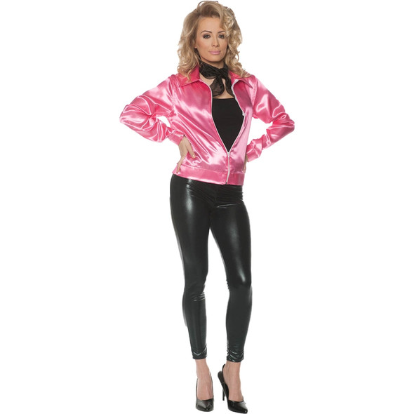 1950s Nifty Fifties Pink Satin Jacket Zip Front Adult Women's Costume XS-XL