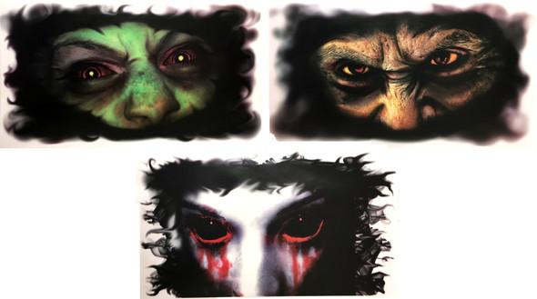 Creepy Window Decor Halloween Party Decoration Clings Sticker Set of 3