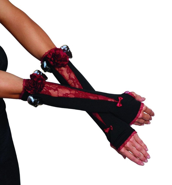 Spooky-licious Black n Burgundy Gloves Womens Halloween Skulss Costume Accessory
