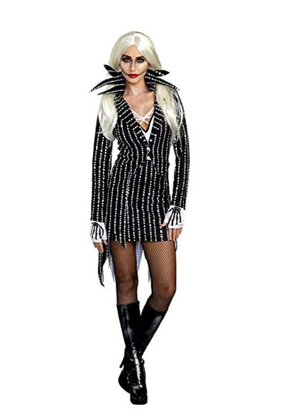 Dreamgirl Madame Skeleton Costume Jackie Black N' White Fancy Dress SM-XL