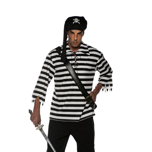 Striped Pirate Shirt White & Black Adult Men's Costume Accessory Plus Size XXL