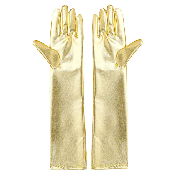 Elegant Gold Metallic Elbow Evening Length Gloves Cosplay Costume Accessory
