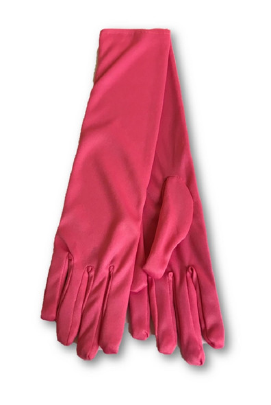 Elegant Bright Pink Elbow Evening Length Gloves Costume Prom Accessory