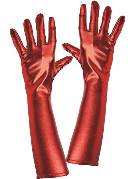 Elegant Red Metallic Elbow Evening Length Gloves Cosplay Costume Accessory