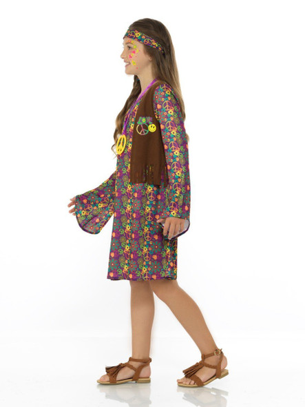 60's Hippie Girl Groovy Costume Peace Sign Dress Fringe Vest Flower Power SM-LG