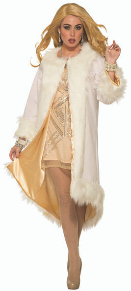Hollywood White Faux Fur Coat with Shiny Gold Lining Costume Marilyn Monroe Diva
