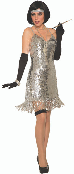 1970's Silver Sequins Disco Costume Fancy Dress Retro Fever Adult Women's Std