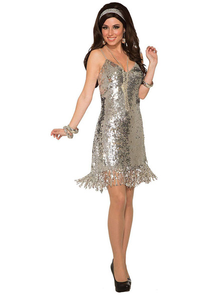1970's Silver Sequins Disco Costume Fancy Dress Retro Fever Adult Women's Std