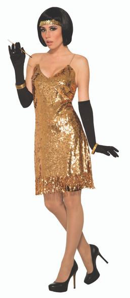 1970's Gold Sequins Disco Costume Fancy Dress Retro Fever Adult Women's Std