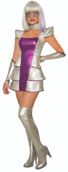Pluto's Princess Outer Space Women Costume Metallic Pink & Silver Dress MD/LG