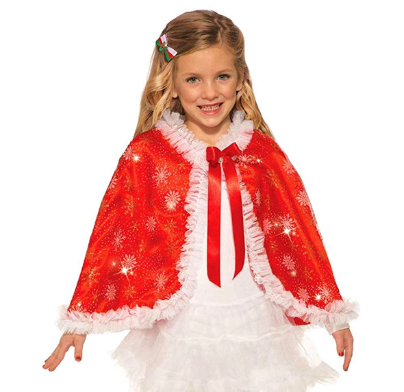 Sparkling Red and White Costume Cape Christmas Snowflake Child Girls New