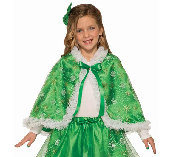 Sparkling Green and White Costume Cape Christmas Snowflake Child Girls New