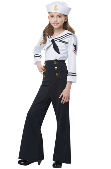 1940s Retro Vintage Navy Uniform Sailor Girls Child Costume MD-XL w Suspenders
