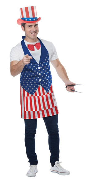 4th Of July Apron & Hat Bowtie Fun BBQ Party Accessory Independance Day USA New