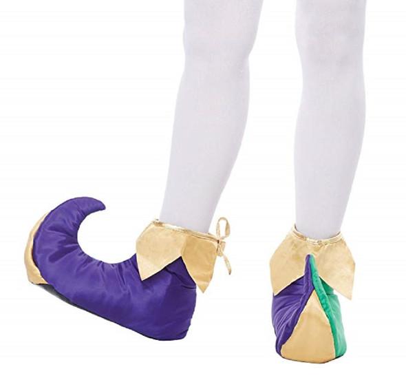 Mardi Gras Jester Clown Adult Unisex Slipper Shoes Costume Accessory SM MD LG
