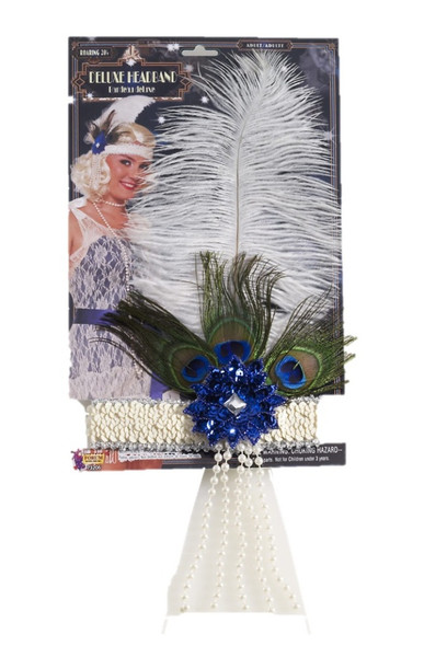 "Flapper Headband 12"" White Ostrich & Peacock Feather Blue Sequins Womens Costume"