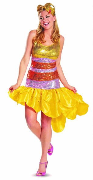 Licensed Sesame Street Big Bird Glam Costume Dress Sequins Adult Women's MD-XL