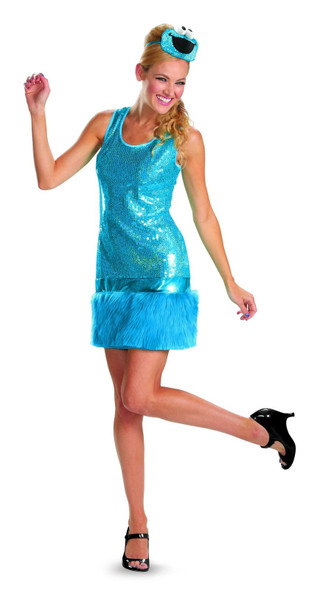 Sesame Street Cookie Monster Glam Costume Halloween Sequins Women's Fancy Dress