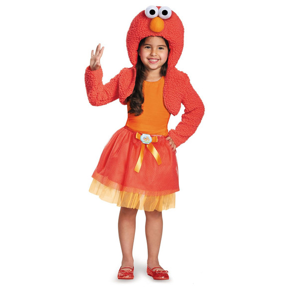 Sesame Street Tickle Me Elmo Costume Halloween Shrug N' Tutu Girl's Fancy Dress