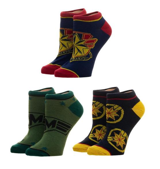 Marvel Comics Captain Marvel Adult Ankle Socks Superhero Junior 3 Pairs Sz 9-11